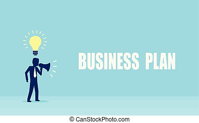 Vector of a businessman with innovative ideas making an announcement in megaphone.