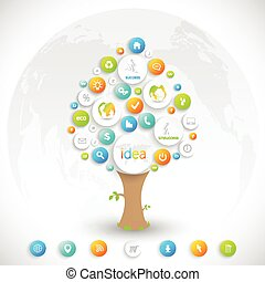 Business plan tree with place for your text  and business training