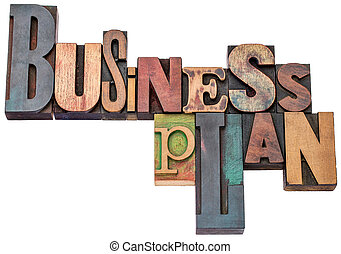 business plan typography in wood type