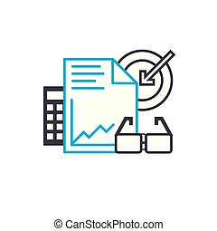 Business plan vector thin line stroke icon. Business plan outline illustration, linear sign, symbol concept.