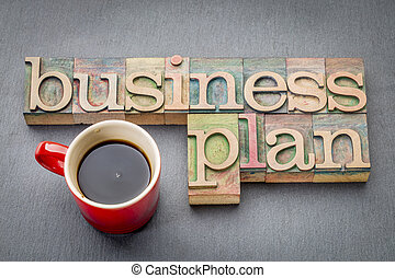 business plan word abstract in wood type