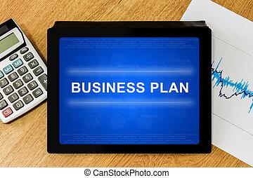 business plan word on digital tablet