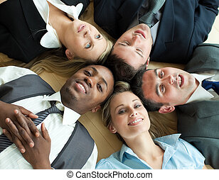business, plancher, gens, closse-up, cercle, mensonge