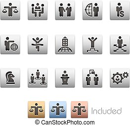 Business Planning and Success Icon set - Metalbox Series