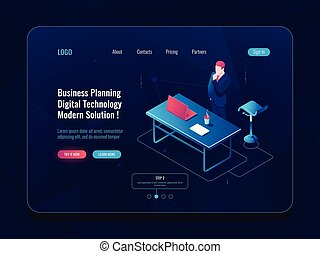Business planning concept, businessman stay and think brainstorm process, workflow in office, laptop table man dark neon