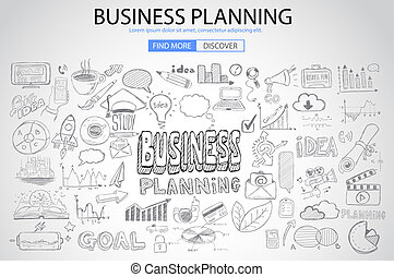 Business Planning concept with Doodle design style: online...