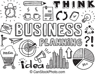 Hand drawn vector illustration set of business planning doodles elements. Isolated on white background