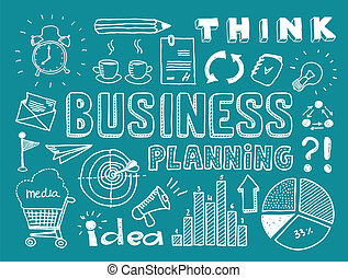 Hand drawn vector illustration set of business planning doodles elements. Isolated on teal background
