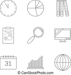 Business planning icons set, outline style
