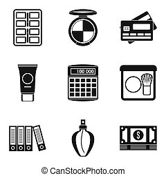 Business planning icons set, simple style