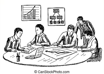 Business planning or workshop concept vector hand drawn illustration
