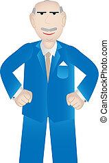 business, plus vieux, positif, -, attitude, vecteur, homme