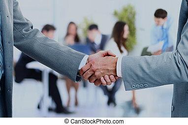 business, poignée main, et, business, gens.
