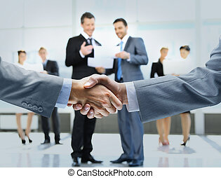 business, poignée main, et, professionnels