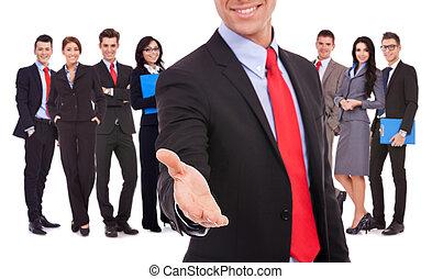 business, poignée main, homme, équipe, accueillir