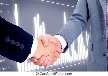 business, poignée main, isolé, fond