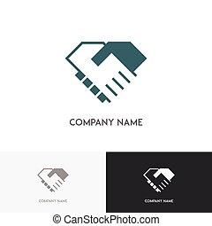 business, poignée main, logo