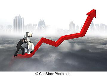business, point, dollar, 3d, signe, poussée, homme, commencer, ascendant