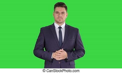 business, pointage, chroma, accent, haut, écran, vert, key., confection, homme, doigt