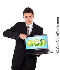 business, pointage, eco, ordinateur portable, signe, homme