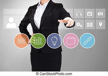 business, pointage, femme affaires, app, boutons, doigt, complet