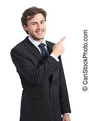 business, pointage, jeune, heureux, côté, homme