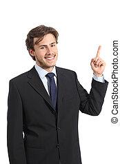business, pointage, jeune regarder, homme appareil-photo, côté, heureux