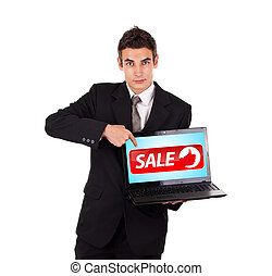 business, pointage, ordinateur portable, signe vente, homme