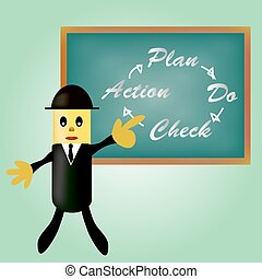 business, pointage, -, pdca, plan, action, chèque, homme