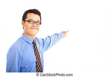 business, pointage, quelque chose, jeune, homme asiatique
