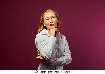 Business portrait of red hair woman with make up