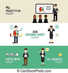 Business position design concept people set presentation, planning, meeting, success, sale, manager, partnership. with flat icons. vector illustration