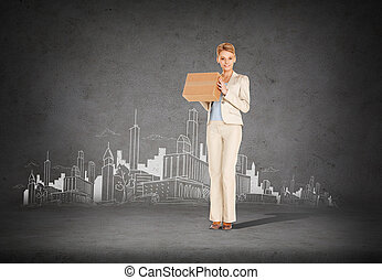 businesswoman delivering cardboard box - business, post ...