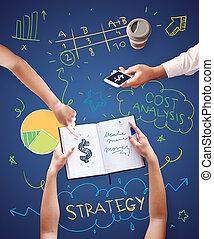 business potkat, kolem, strategie, o, podnik