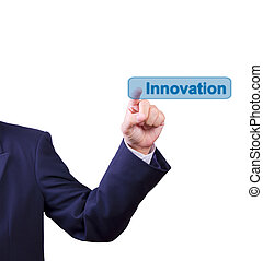 business, poussée bouton, isolé, main, innovation, homme