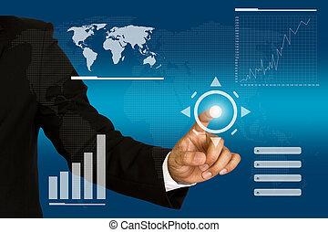 business, poussée bouton, main, toucher, interface, écran