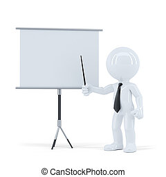 Business presentation. 3d man standing in front of a blank board. Isolated. Contains clipping path of scene and blank board