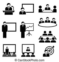 Business presentation and meeting icons