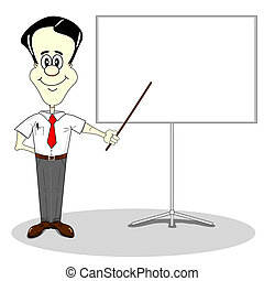 Business presentation - Businessman at a blank presentation...