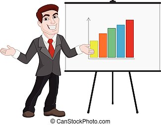 Business Presentation. Businessman Shows Statistics on Board