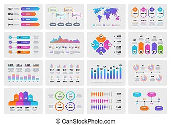 Business presentation charts. Financial report with graphs diagrams, marketing flowcharts progress bar. Vector infographics template