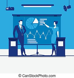 Business presentation concept vector illustration in flat...