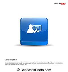 Business presentation icon - 3d Blue Button
