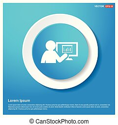 Business presentation icon Abstract Blue Web Sticker Button