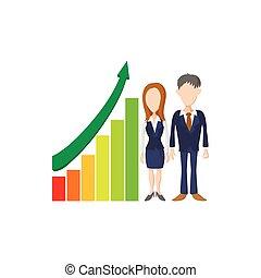 Business presentation icon, cartoon style