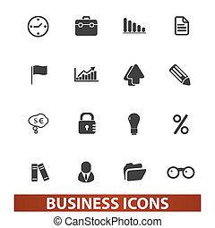 business presentation icons set, vector