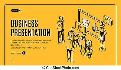 Business presentation isometric landing page.