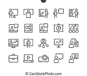 Business Presentation Outlined Pixel Perfect Well-crafted Vector Thin Line Icons 48x48 Ready for 24x24 Grid for Web Graphics and Apps with Editable Stroke. Simple Minimal Pictogram