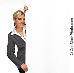 Business presentation - Pretty blonde girl with a blank ...