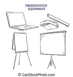 Business Presentation Sketch Elements Set